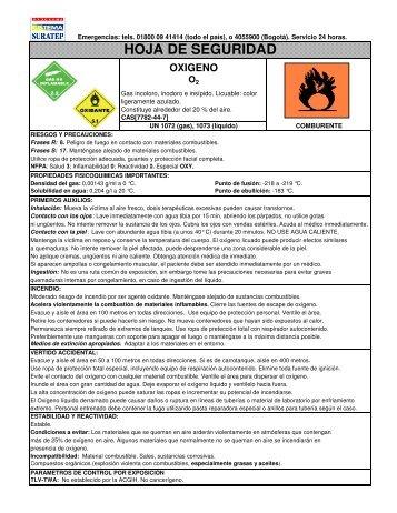 hoja de seguridad de oxigeno: