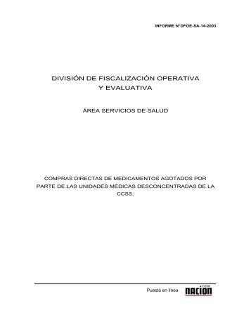 Informe DFOE-SA-14-2003 - Especial de nacion.com sobre el ...
