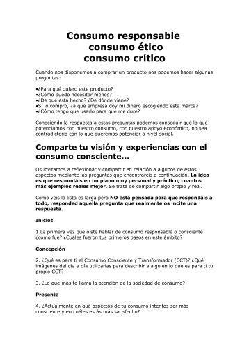 Consumo responsable consumo ético consumo crítico