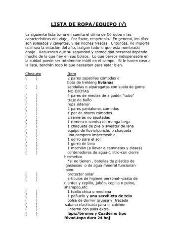 LISTA DE ROPA CORDOBA - La Lucena