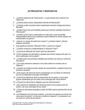 36 PREGUNTAS Y RESPUESTAS - The Museum of Tolerance