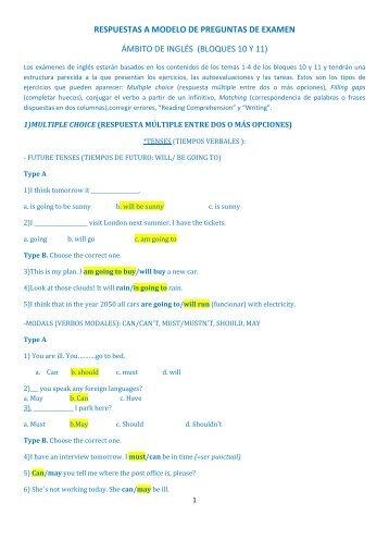 respuestas a modelo de preguntas de examen ámbito de inglés