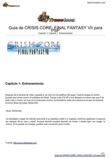 Guia de CRISIS CORE: FINAL FANTASY VII para ... - Trucoteca.com