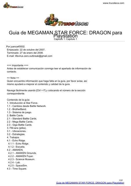 Guia de MEGAMAN STAR FORCE: DRAGON para     - Trucoteca com