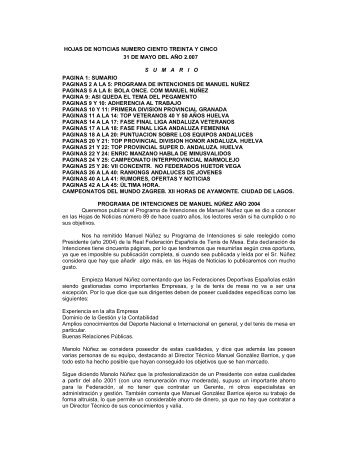 HOJAS DE NOTICIAS NUMERO CIENTO TREINTA ... - Tenis de Mesa