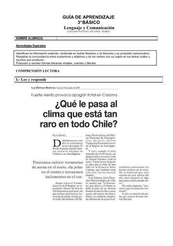 GUÍA DE APRENDIZAJE 3° BÁSICO Lenguaje y Comunicación