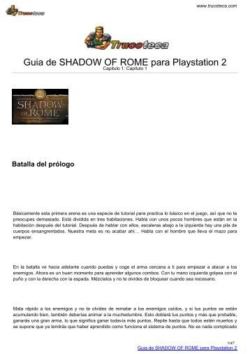 Guia de SHADOW OF ROME para Playstation 2 - Trucoteca.com