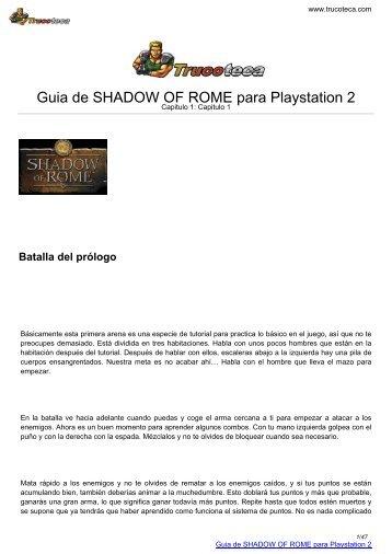 Guia de SHADOW OF ROME para Playstation 2 - Trucoteca.com