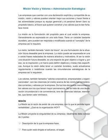 Misión Visión y Valores « Administración Estratégica - imago