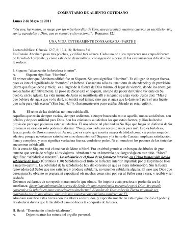COMENTARIO DE ALIENTO COTIDIANO Lunes 2 de Mayo de 2011 ...