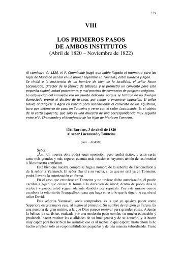 VIII LOS PRIMEROS PASOS DE AMBOS INSTITUTOS