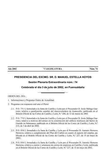 PRESIDENCIA DEL EXCMO. SR. D. MANUEL ESTELLA HOYOS ...