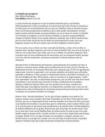 La familia que progresa Jhon Milton Rodríguez Cita Bíblica: Mateo 5 ...