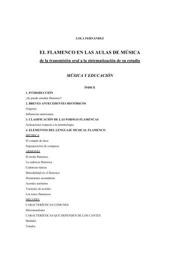 el flamenco en las aulas de música - Instituto de Educación Musical