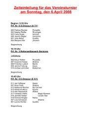 Zeiteinteilung für das Vereinsturnier am Sonntag, den 6.April 2008