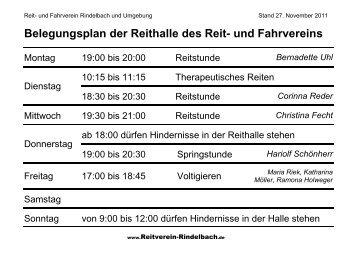 Belegungsplan der Reithalle - Reitverein Rindelbach