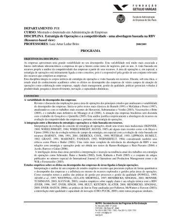 Resourde-Based - FGV-EAESP Escola de Administração de ...