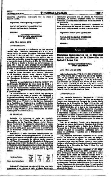 rm n° 504-2012/minsa - Ministerio de Salud