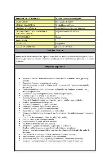Cálculo Diferencial e Integral I - Universidad de Sonora