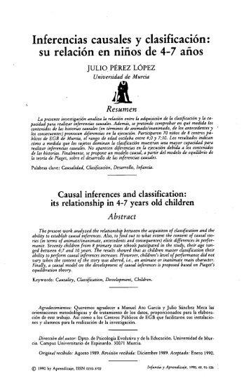 Inferencias causales y clasificación: su relación en niños ... - Dialnet