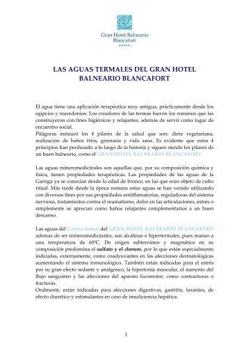 las aguas termales del gran hotel balneario blancafort - Esade