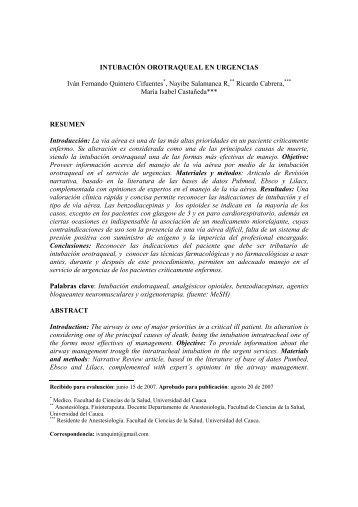 Intubación orotraqueal en urgencias - Facultad Ciencias de la Salud ...
