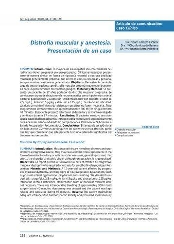 Distrofia muscular y anestesia. Presentación de un caso