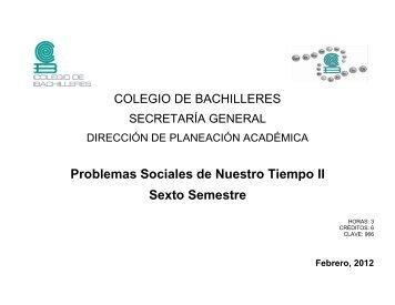 Problemas Sociales de Nuestro Tiempo II - Colegio de Bachilleres