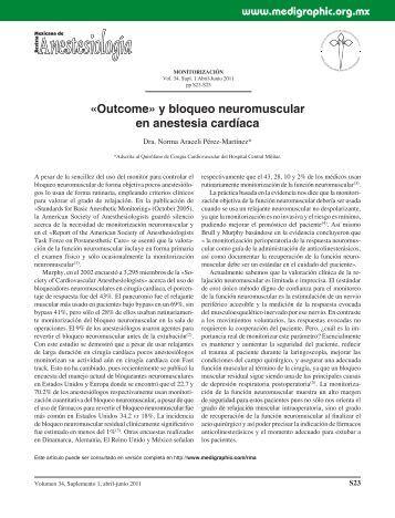 Outcome» y bloqueo neuromuscular en anestesia ... - edigraphic.com