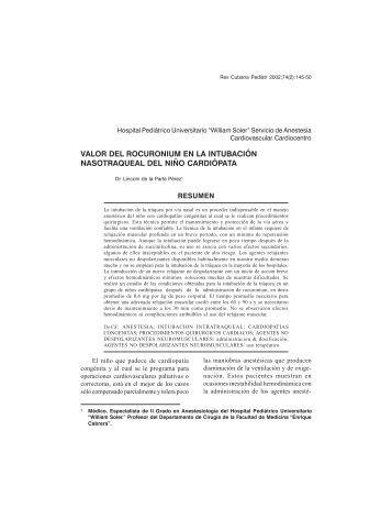 Valor del rocuronium en la intubación nasotraqueal del niño ...