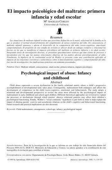 El impacto psicologico del maltrato: primera infancia y edad escolar