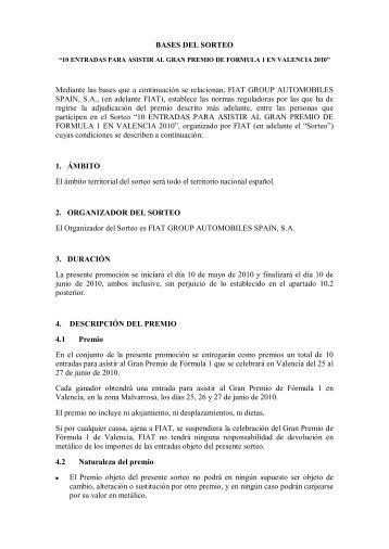 BASES DEL SORTEO Mediante las bases que a ... - Servicios Fiat
