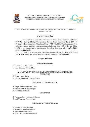 8ª Convocação para inspeção médica - Concursos - UFBA ...