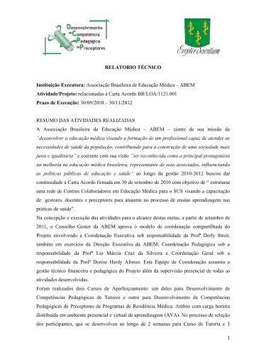 relatorio tecnico final - Associação Brasileira de Educação Médica ...
