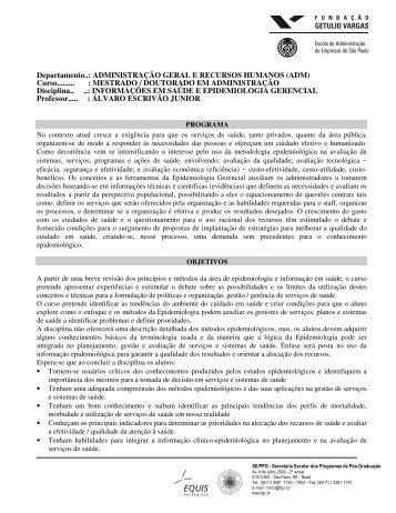 Informações em Saúde e Epidemiologia Gerencial - FGV-EAESP ...
