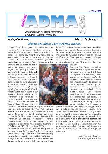 María nos educa a ser personas nuevas - Turin-Valdocco