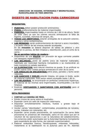 DIGESTO DE HABILITACION PARA CARNICERIAS - Municipalidad ...