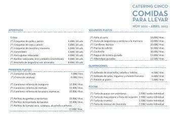 Archivo de platos, precios y condiciones - Catering Cinco