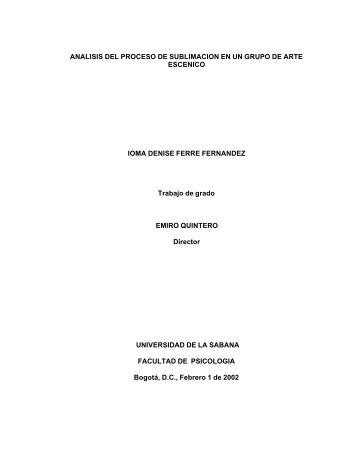 ANALISIS DEL PROCESO DE SUBLIMACION EN UN GRUPO DE ...