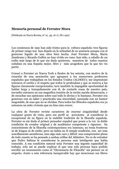 Memoria personal de Ferrater Mora - José Luis González Quirós