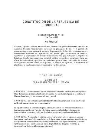 CONSTITUCION DE LA REPUBLICA DE HONDURAS .pdf - Justia