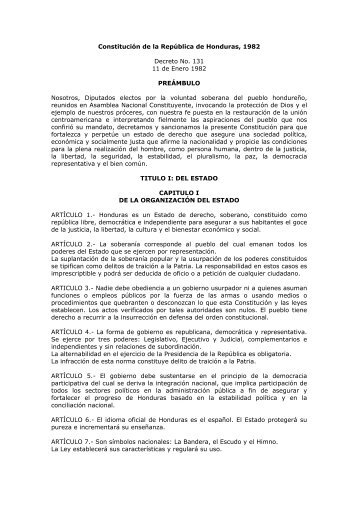 Constitución de la República de Honduras - Biblioteca Jurídica Virtual