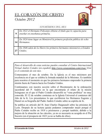EL CORAZÓN DE CRISTO Octubre 2012 - Instituto de Hermanos ...