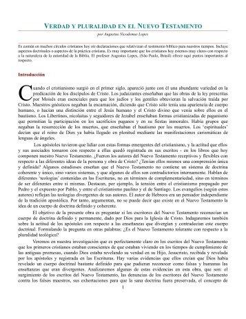 verdad y pluralidad en el nuevo testamento - Página de la CLIR