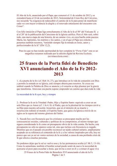 25 Frases De La Porta Fidei Esclavas Del Santisimo