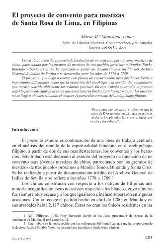 El proyecto de convento para mestizas de Santa Rosa de Lima, en ...