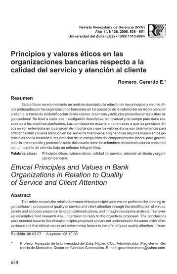 Principios y valores éticos en las organizaciones ... - SciELO