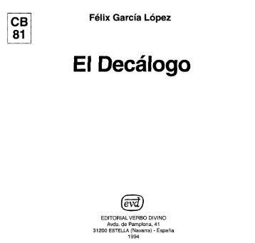 El Decalogo - Felix Garcia Lopez (Cuadernos Biblicos).pdf