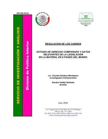 REGULACIÓN DE LOS CASINOS. Estudio de derecho comparado y ...