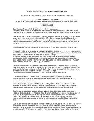 Resolución 640 de 2000 - Instituto Geográfico Agustín Codazzi